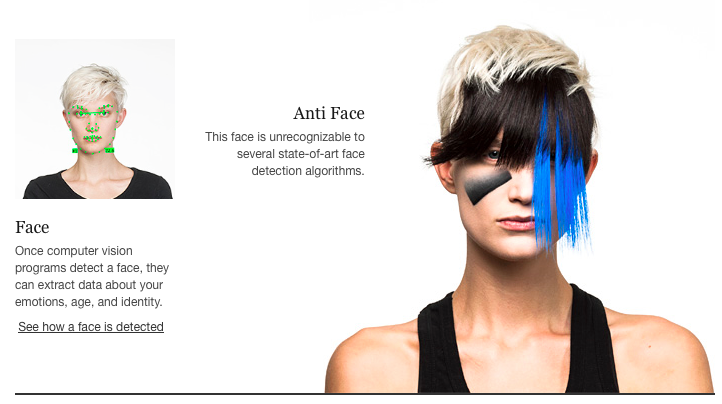 CV Dazzle is a design scheme including makeup and hair specifically designed to fool facial recognition software into not detecting a human face.